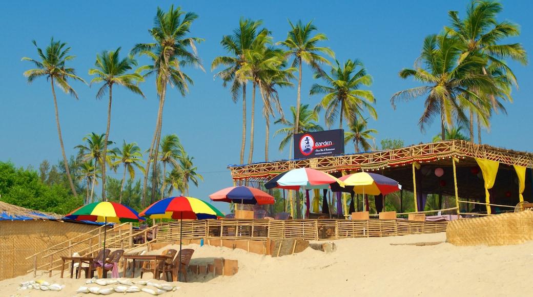 Mandrem Beach showing a beach bar, tropical scenes and general coastal views