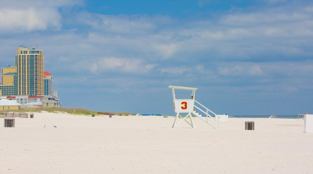 Gulf State Park toont een strand, een kuststadje en algemene kustgezichten
