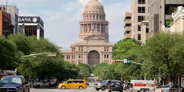 Downtown Austin showing street scenes and an administrative buidling