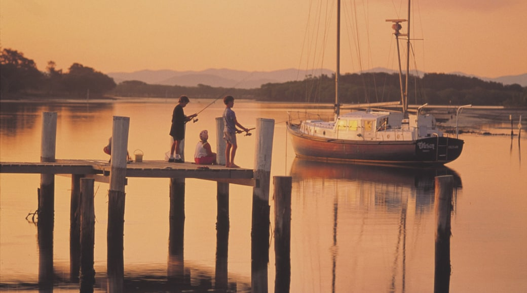 Taree showing boating, a sunset and fishing