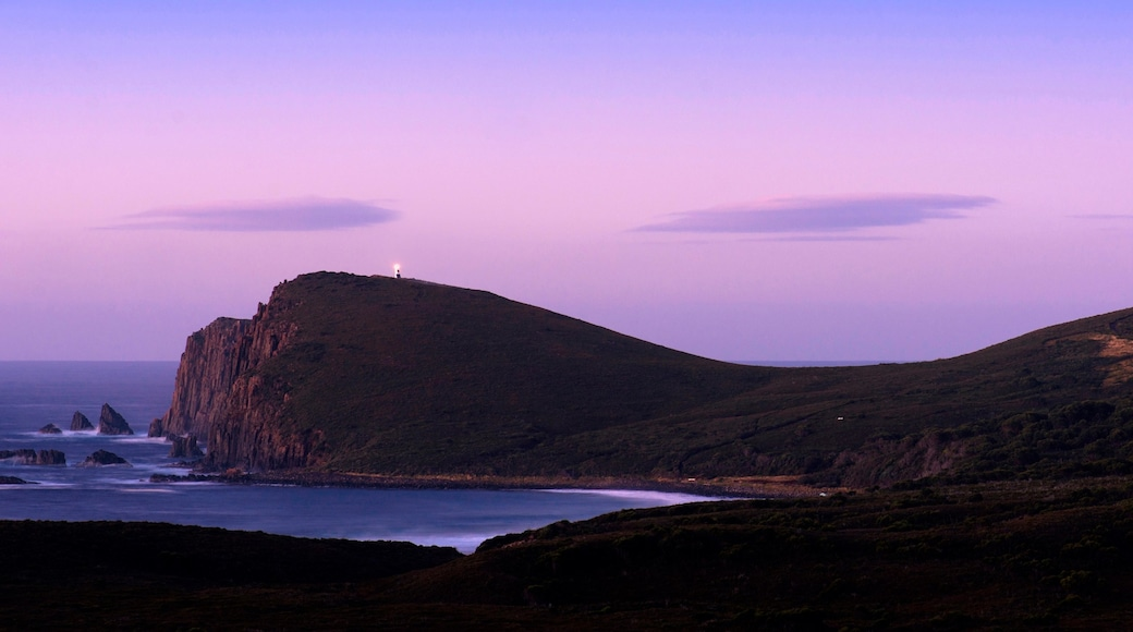 Bruny Island showing a sunset and rugged coastline