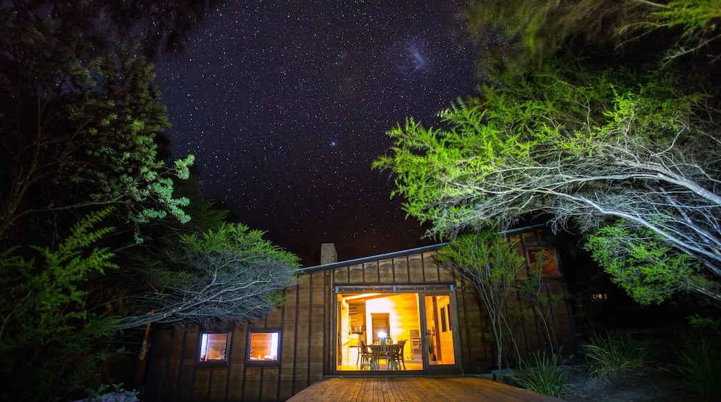 Freycinet showing night scenes, a house and forests