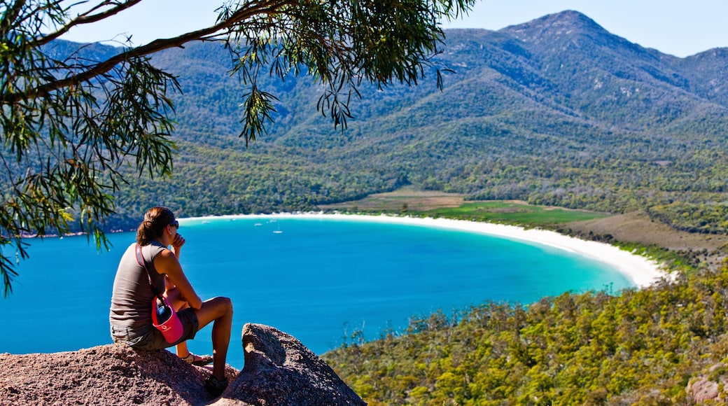 Freycinet showing general coastal views and mountains as well as an individual female