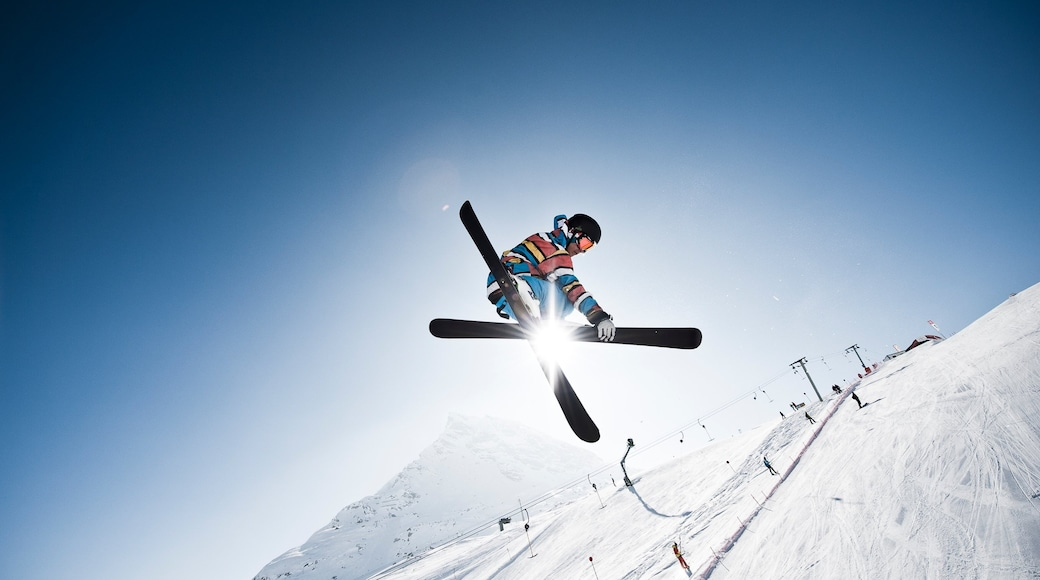 Galtur which includes snow skiing and snow as well as an individual male
