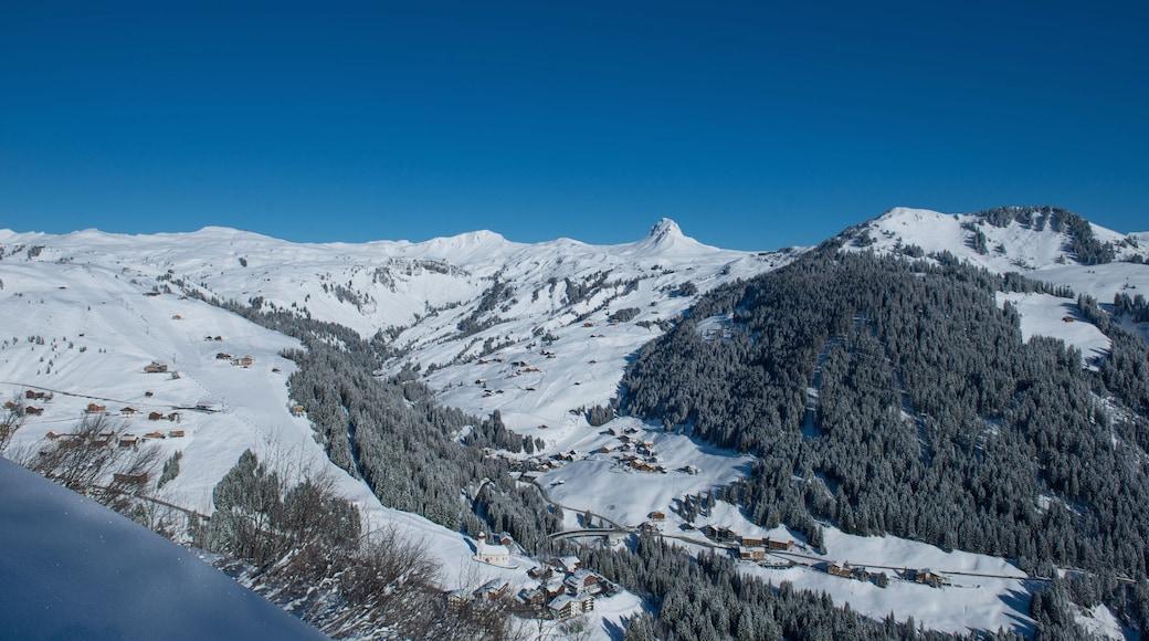 Skigebiet Damüls Mellau Faschina welches beinhaltet Berge, Schnee und Wälder