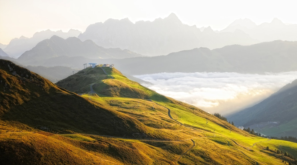 Saalbach-Hinterglemm skiområde som viser åkre og fjell