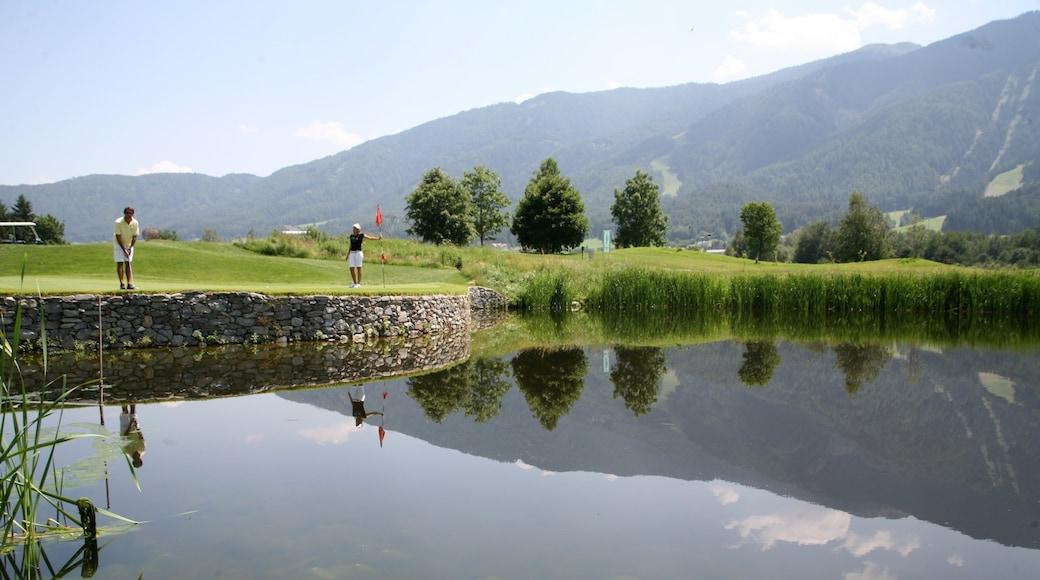 Kronplatz Ski Area showing a pond and golf