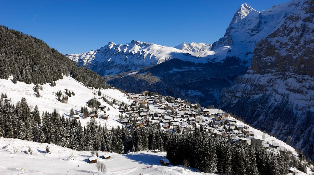 Muerren featuring snow, mountains and a small town or village