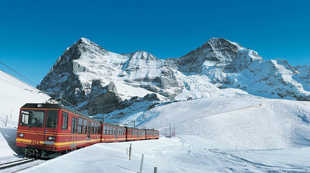Eiger which includes snow and railway items