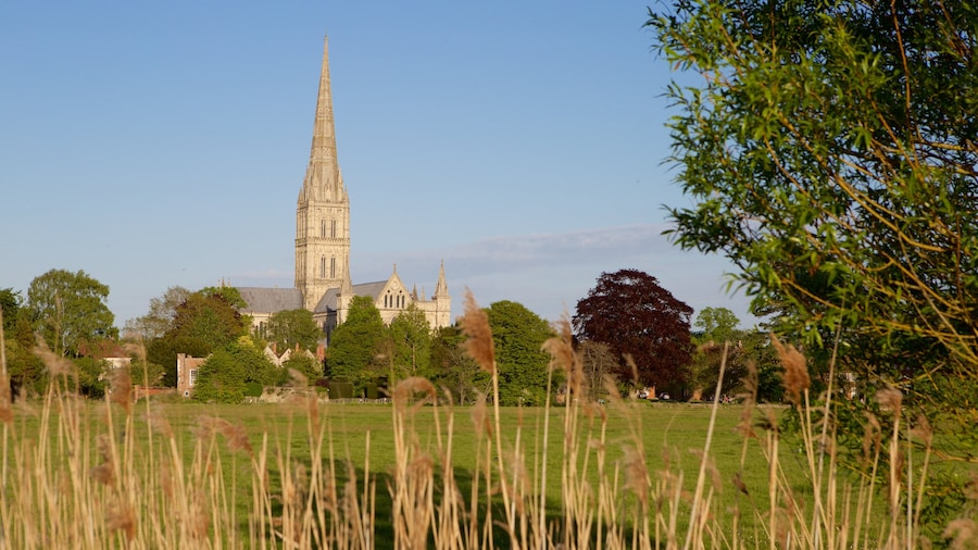 Salisbury Cathedral which includes heritage architecture and tranquil scenes