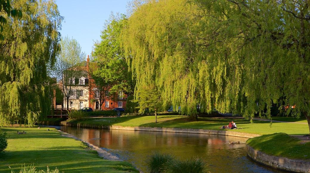 Salisbury featuring vanha arkkitehtuuri ja joki tai puro