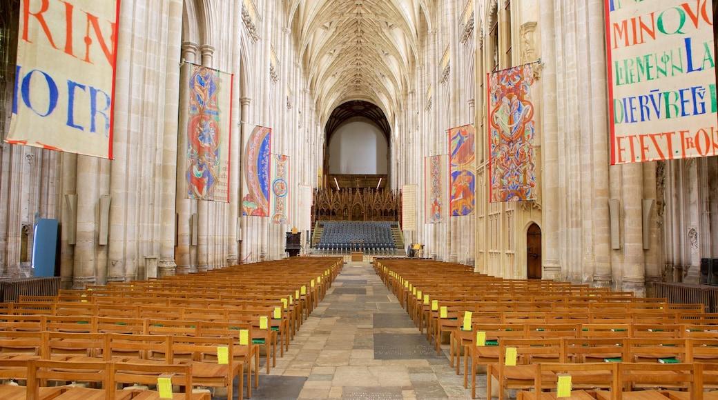 Winchester Cathedral welches beinhaltet Innenansichten und historische Architektur