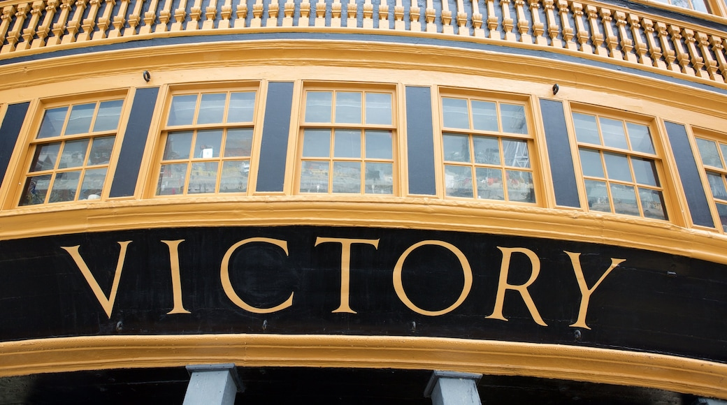 HMS Victory featuring signage