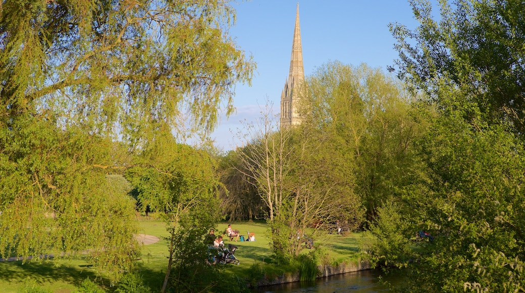 Salisbury Cathedral which includes a garden