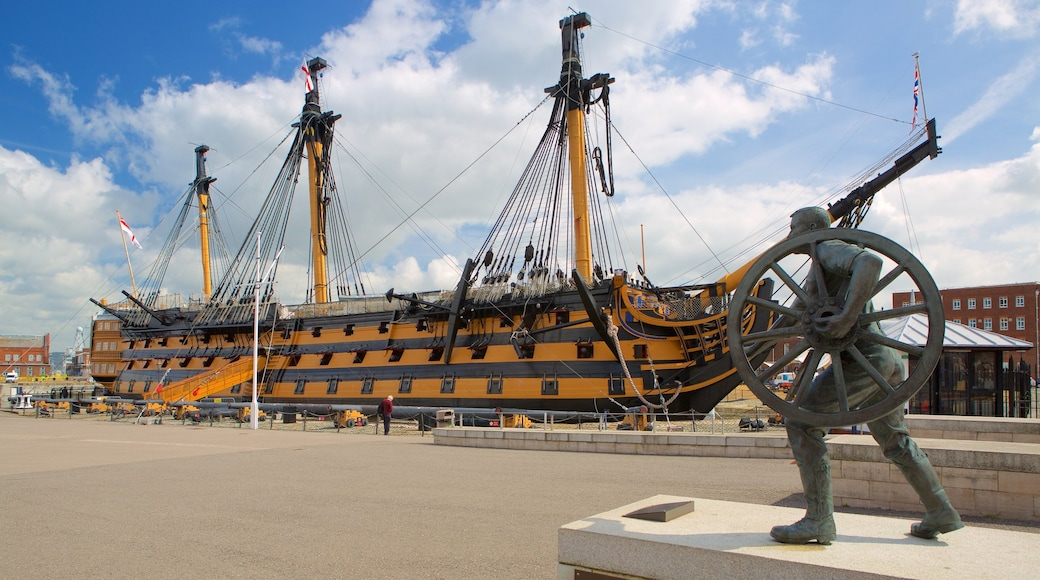 HMS Victory which includes heritage elements and a statue or sculpture