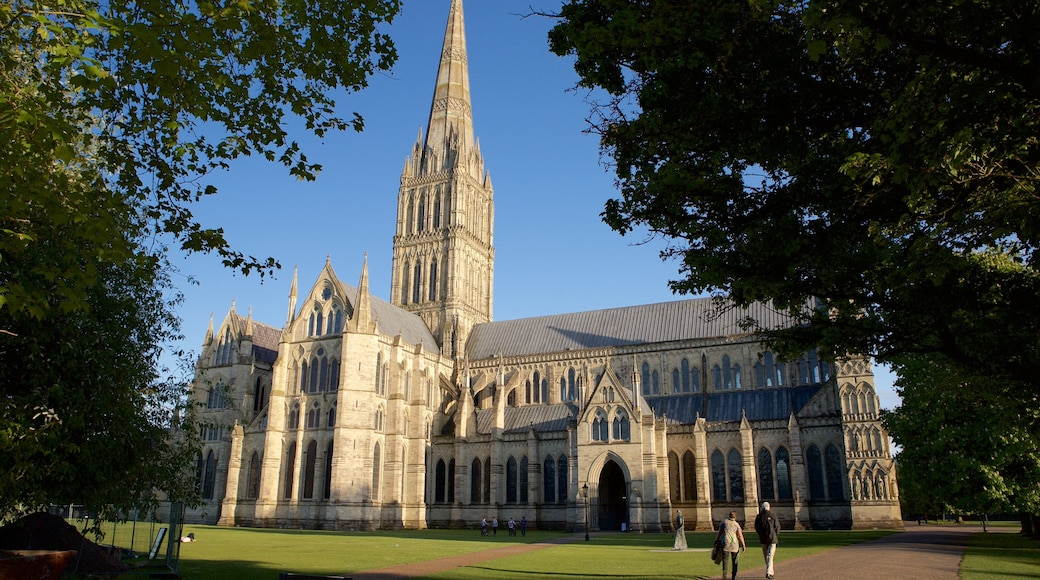 Salisbury Cathedral featuring a church or cathedral and religious elements