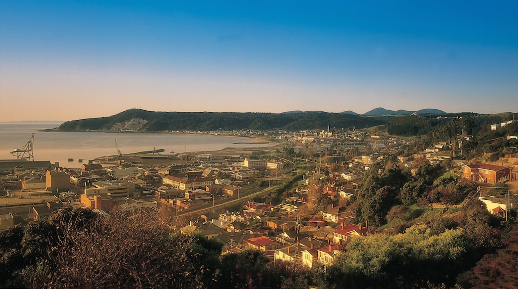 Burnie which includes a coastal town and night scenes
