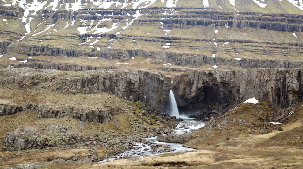East Iceland showing mountains and a waterfall