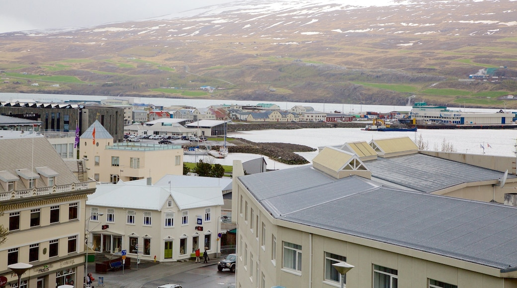 Akureyri which includes a small town or village and mist or fog