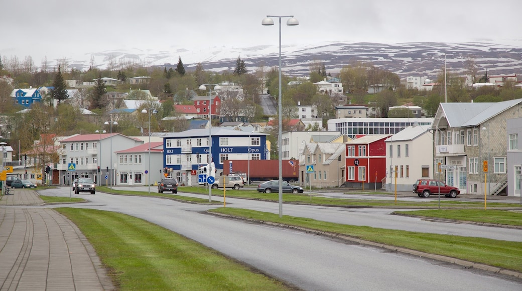 Akureyri featuring street scenes and a small town or village