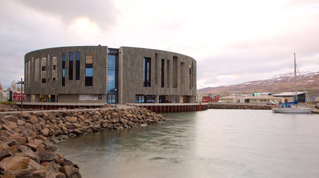 Akureyri featuring modern architecture and general coastal views
