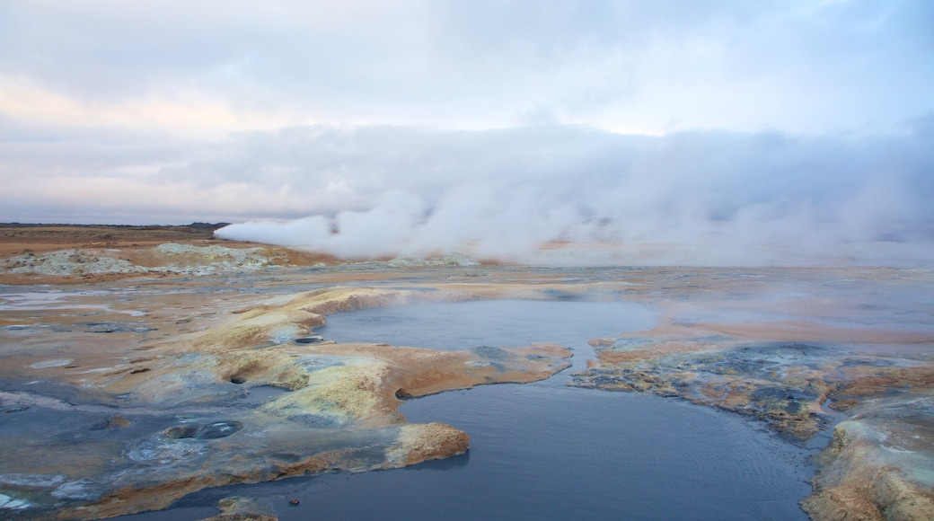 Namafjall which includes a hot spring and mist or fog