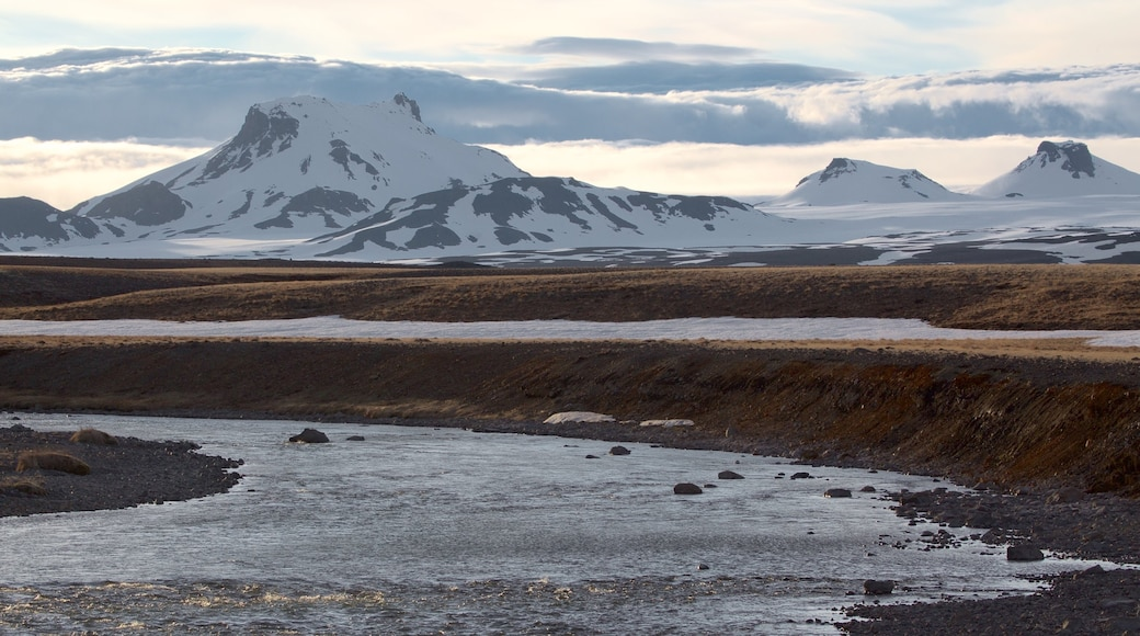 Laugarvatn showing a river or creek, snow and mountains