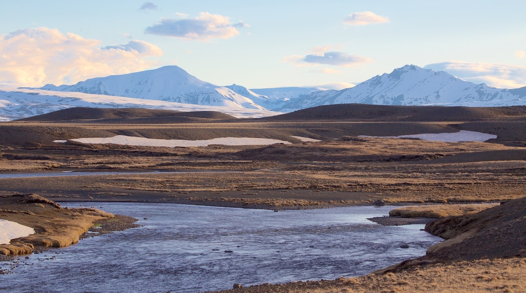 Laugarvatn featuring tranquil scenes, snow and a river or creek