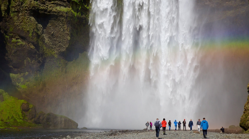 Skogar featuring a waterfall as well as a large group of people