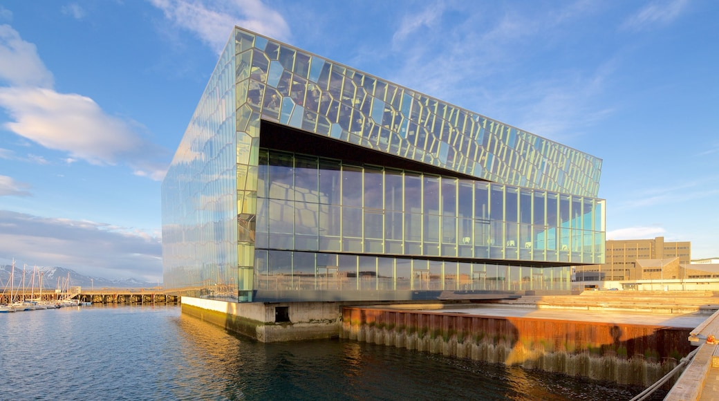 Harpa showing general coastal views and modern architecture