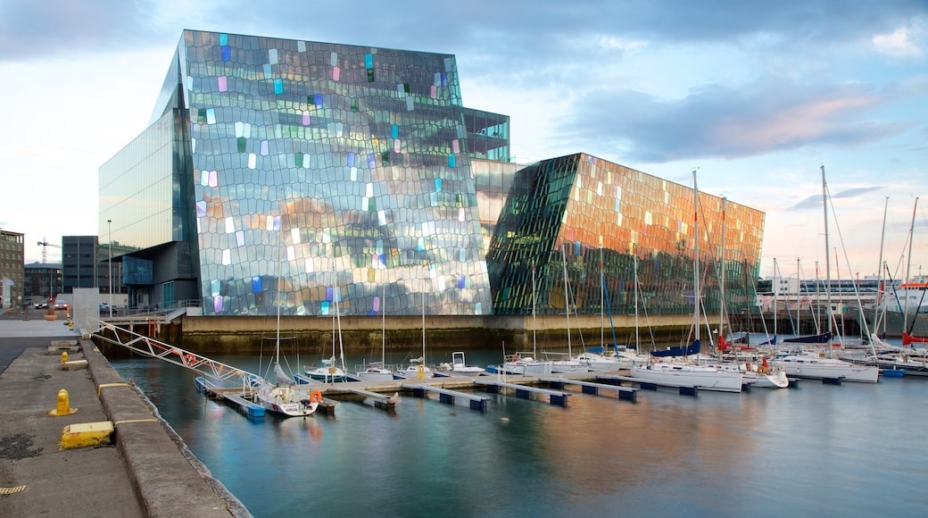 Harpa showing a bay or harbour, general coastal views and modern architecture