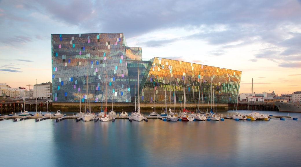 Harpa showing modern architecture, a bay or harbour and general coastal views