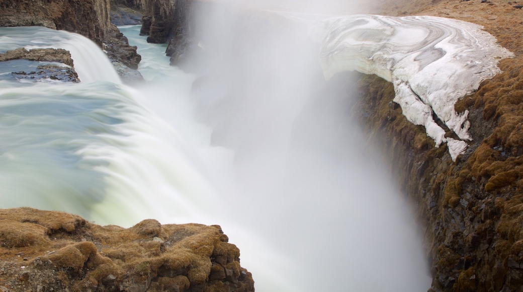 Gullfoss Waterfall showing a waterfall, mist or fog and a gorge or canyon