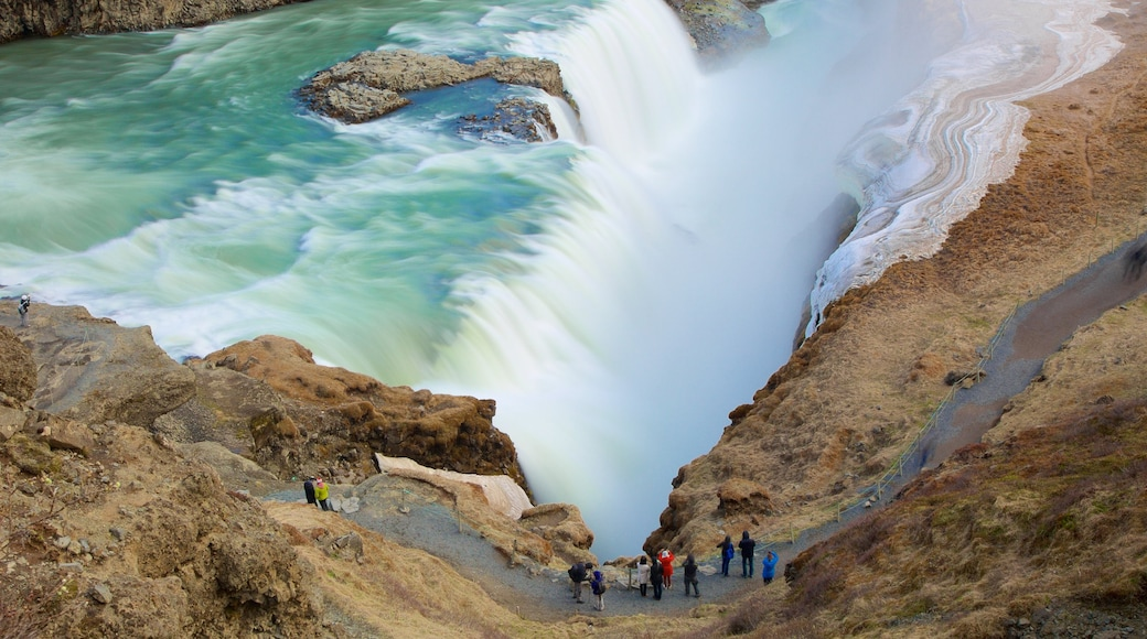 Gullfoss Waterfall showing a cascade and a gorge or canyon