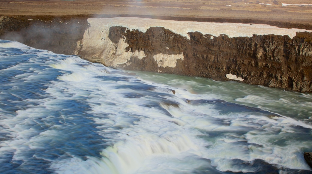 Gullfoss Waterfall which includes a gorge or canyon and rapids