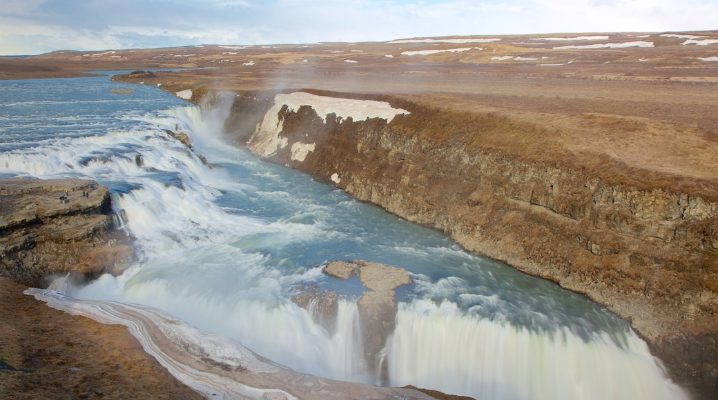 Gullfoss Waterfall showing rapids, a cascade and a gorge or canyon