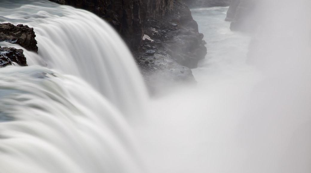 Gullfoss Waterfall featuring mist or fog and a cascade