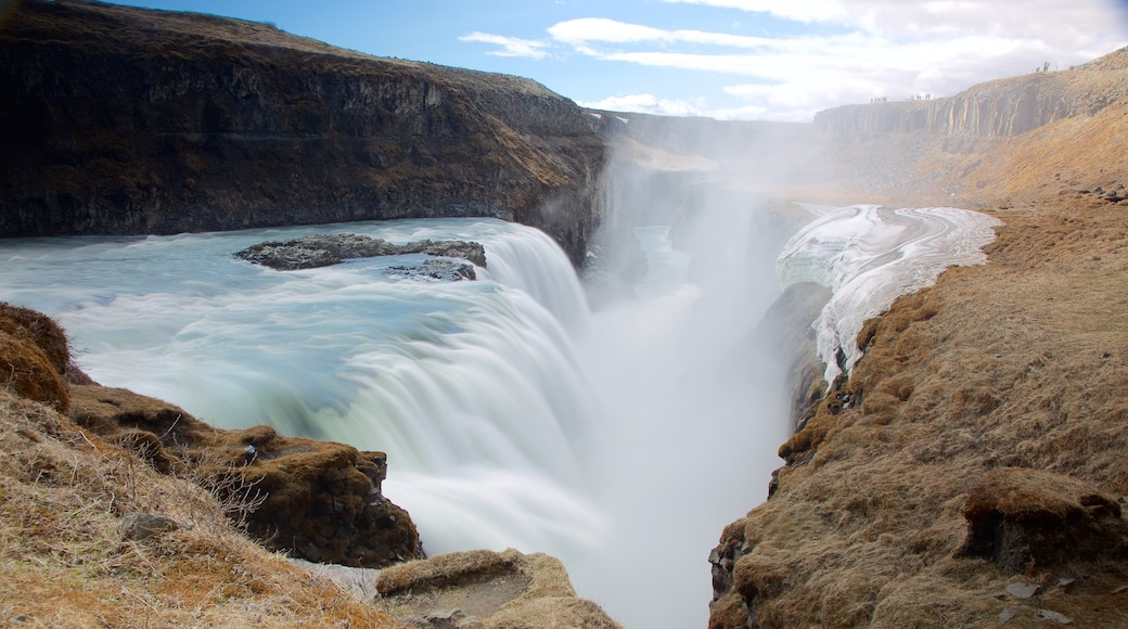 Gullfoss Waterfall which includes a gorge or canyon, landscape views and a waterfall