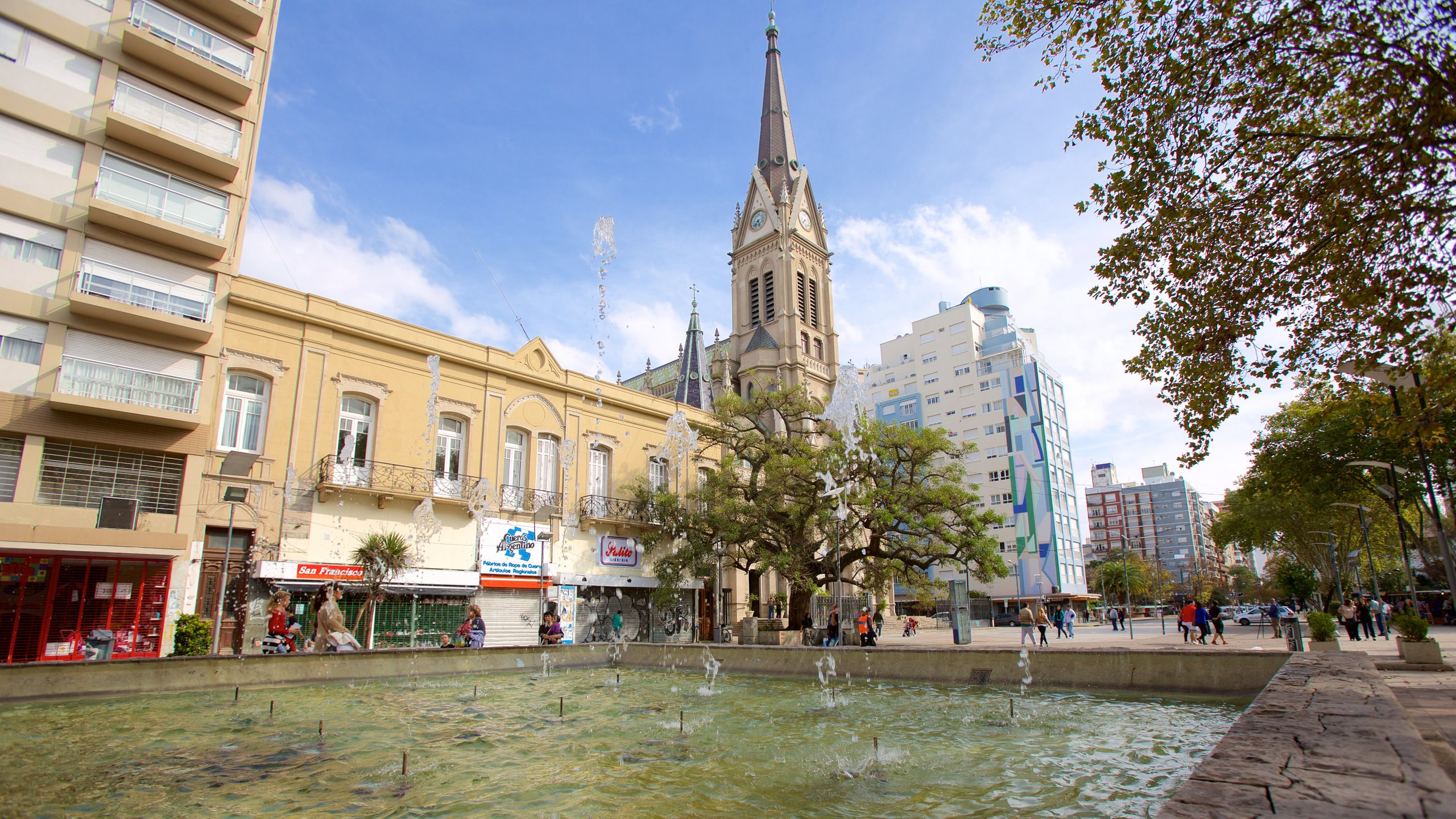 Mar del Plata Cathedral showing a pond
