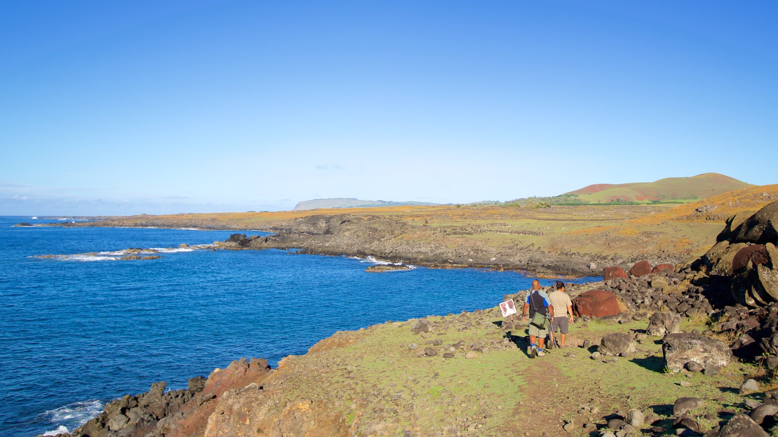The largest unmounted monolith of Easter Island lies broken in pieces above a cliff on the island's south coast.