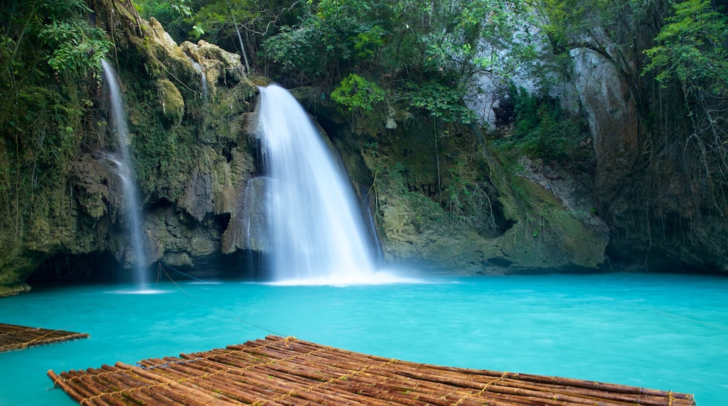 Kawasan Falls featuring a river or creek and a waterfall