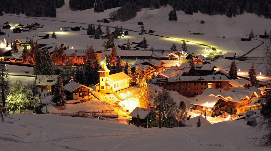 Les Diablerets which includes snow, night scenes and a small town or village