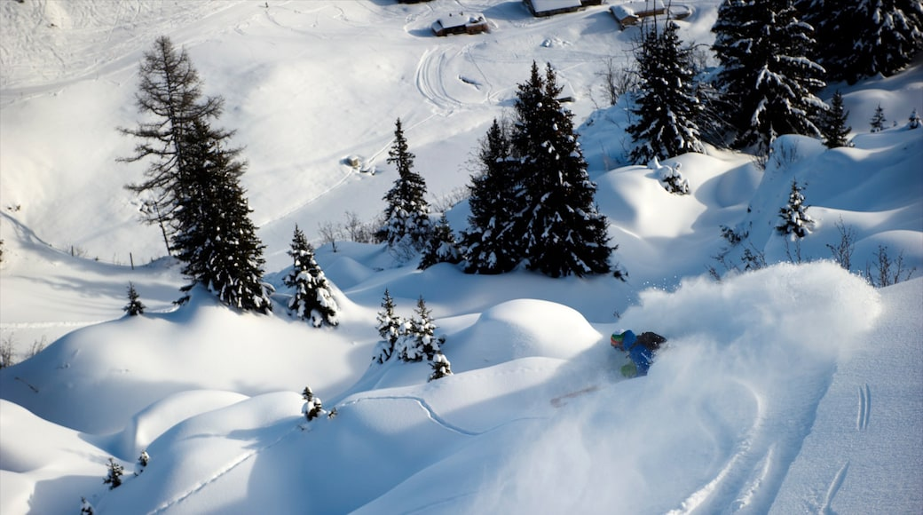 Les Diablerets Ski Resort showing mountains, snow skiing and snow