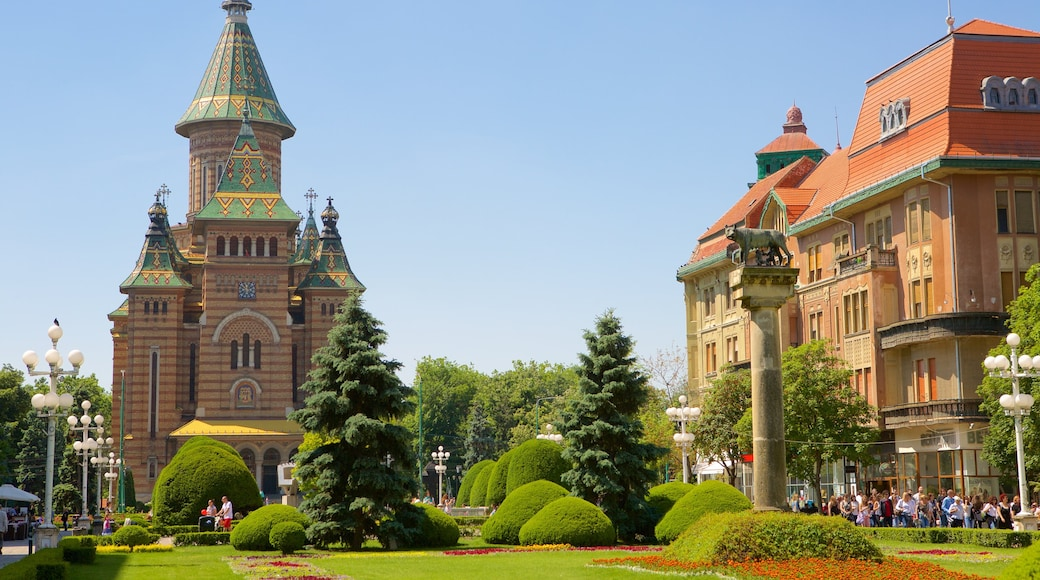 Romanian Orthodox Cathedral showing heritage architecture and a park
