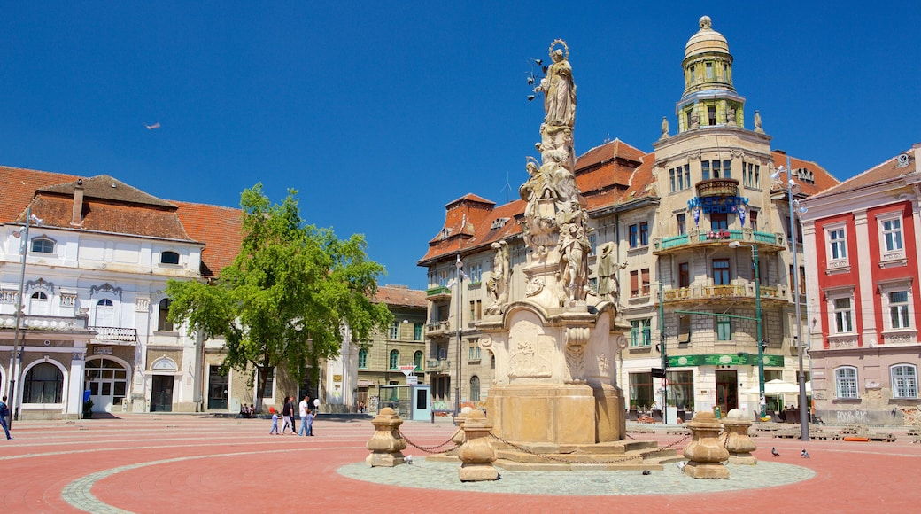 Timisoara which includes a statue or sculpture and a square or plaza