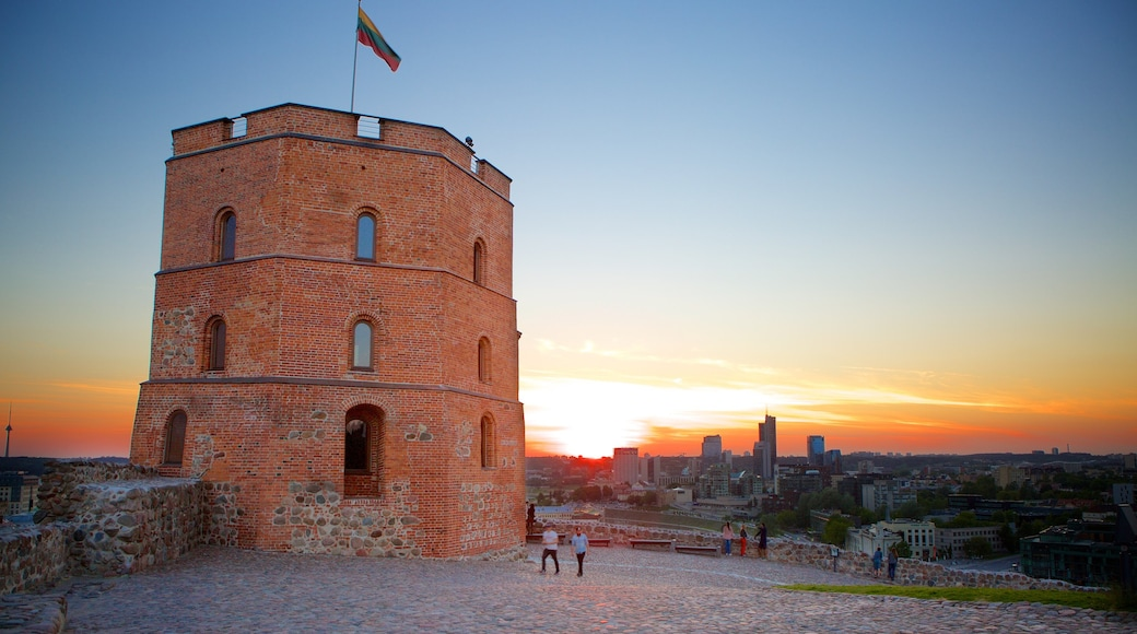 Gediminas Tower showing a sunset and a castle