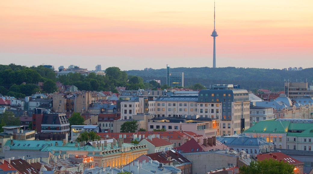 Vilnius TV Tower featuring a sunset