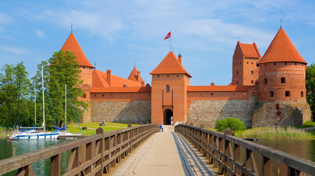 Trakai Island Castle showing a bridge and a church or cathedral
