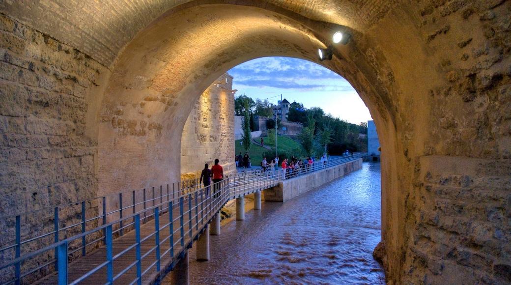 Córdoba mostrando un río o arroyo, escenas nocturnas y arquitectura patrimonial