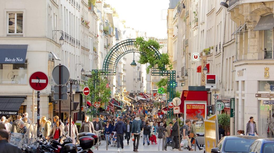 2. Arrondissement mit einem Märkte und Straßenszenen sowie große Menschengruppe